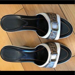 Fendi Coated Canvas High-Heel Platform Sandals